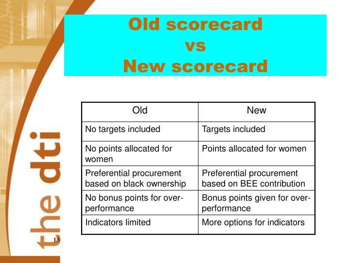 Old scorecard