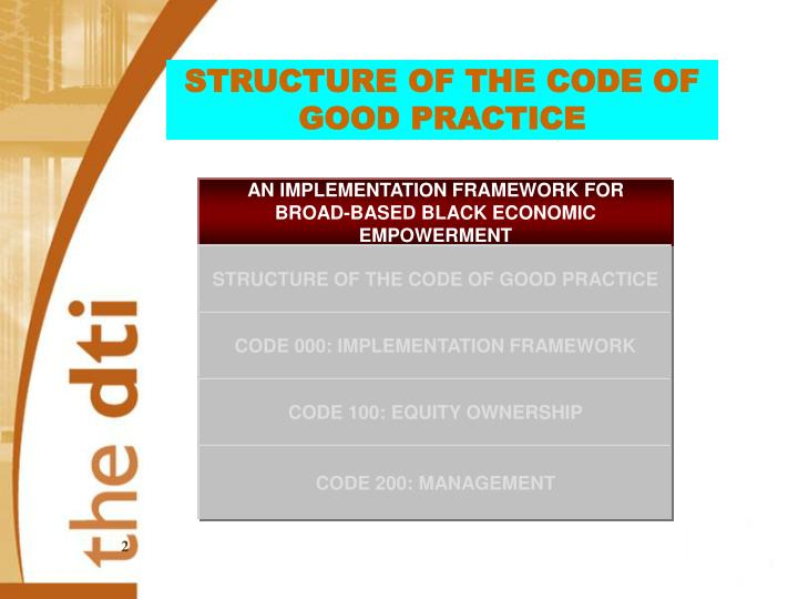 STRUCTURE OF THE CODE OF GOOD PRACTICE