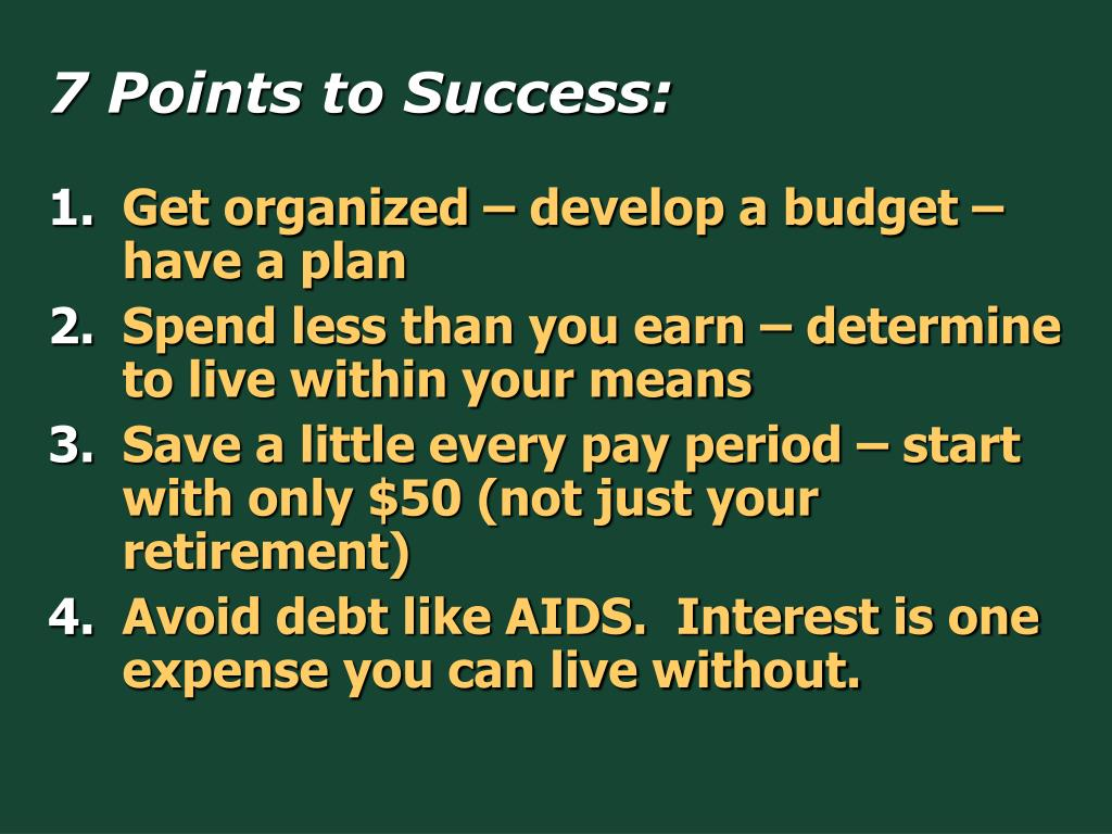 7 Points to Success: