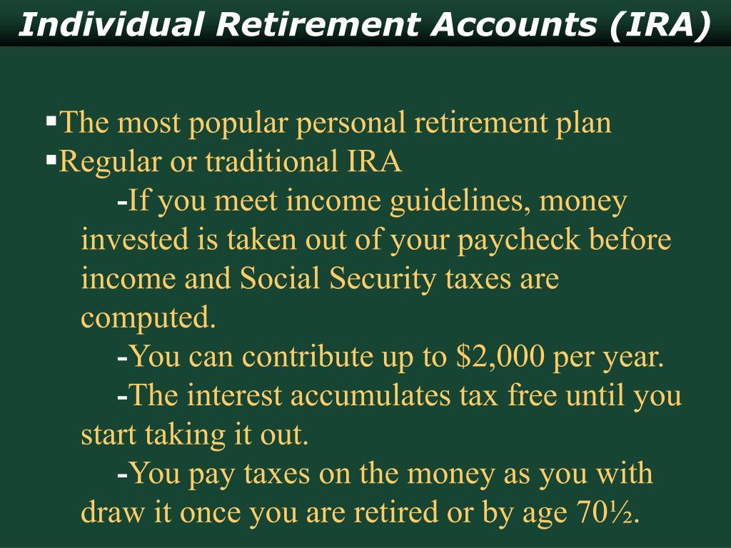 Individual Retirement Accounts (IRA)