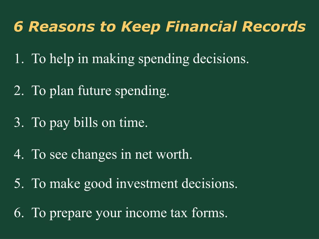 6 Reasons to Keep Financial Records