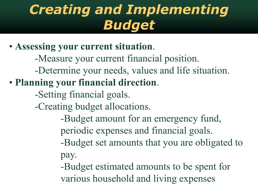 Creating and Implementing Budget