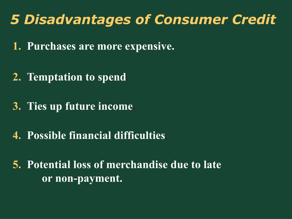 5 Disadvantages of Consumer Credit