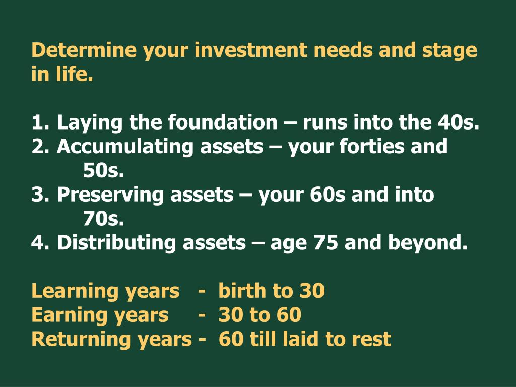 Determine your investment needs and stage