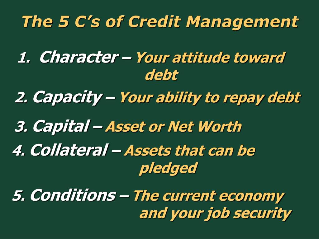The 5 C's of Credit Management