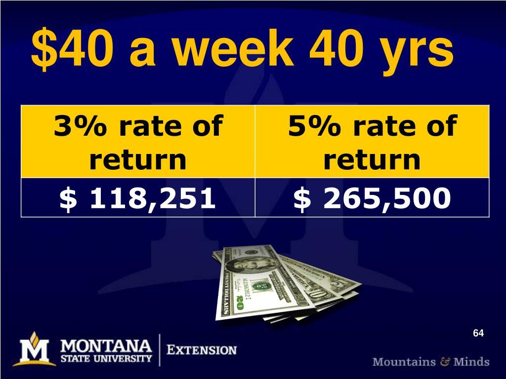 $40 a week 40 yrs