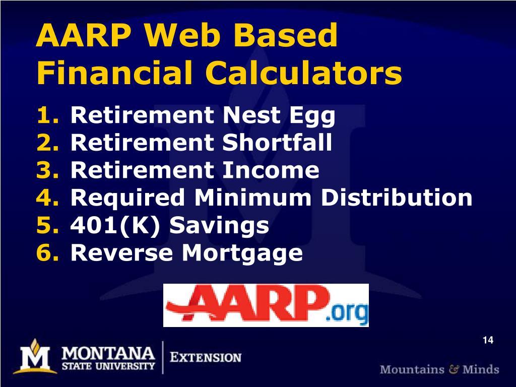 AARP Web Based Financial Calculators