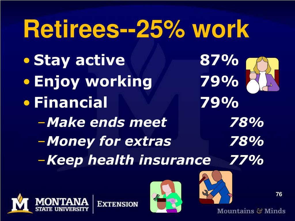 Retirees--25% work