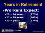 years in retirement