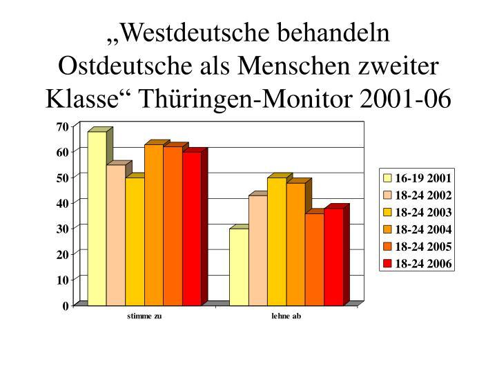 Westdeutsche behandeln Ostdeutsche als Menschen zweiter Klasse Thringen-Monitor 2001-06