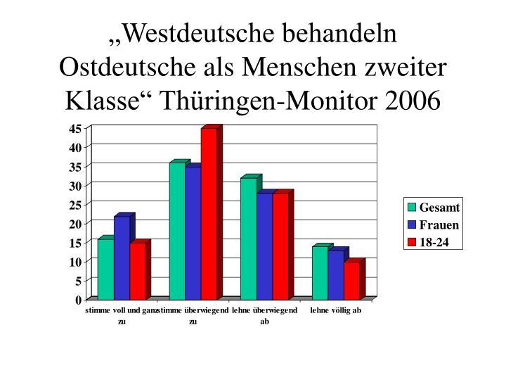 Westdeutsche behandeln Ostdeutsche als Menschen zweiter Klasse Thringen-Monitor 2006