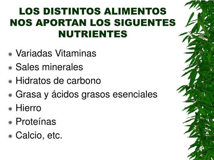 LOS DISTINTOS ALIMENTOS NOS APORTAN LOS SIGUENTES NUTRIENTES