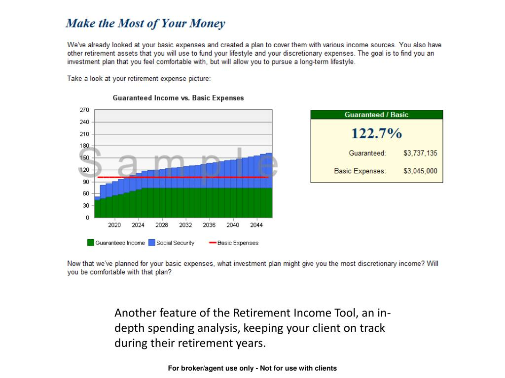 Another feature of the Retirement Income Tool, an in-depth spending analysis, keeping your client on track during their retirement years.