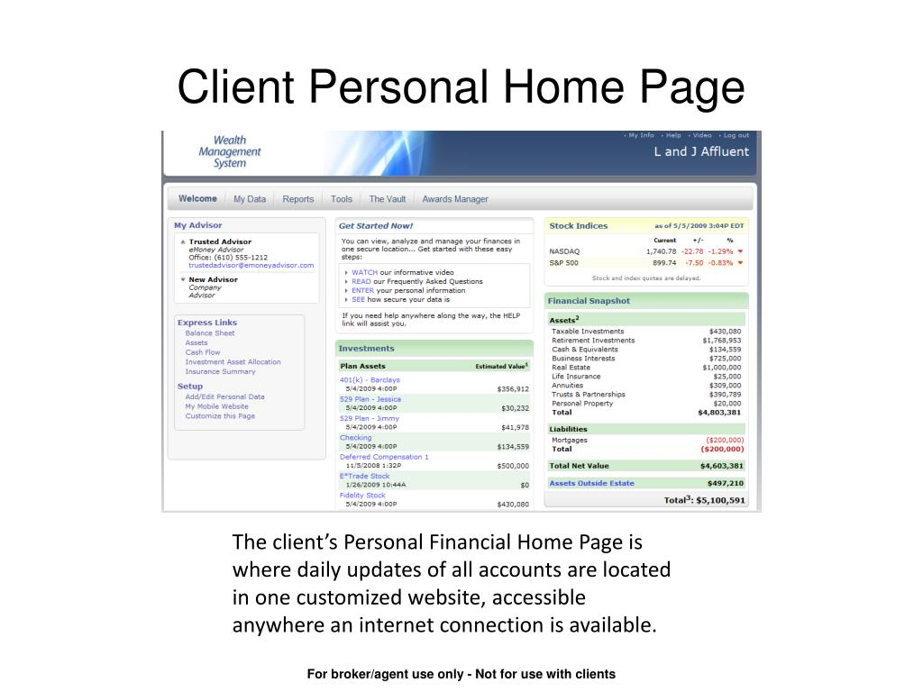 Client Personal Home Page