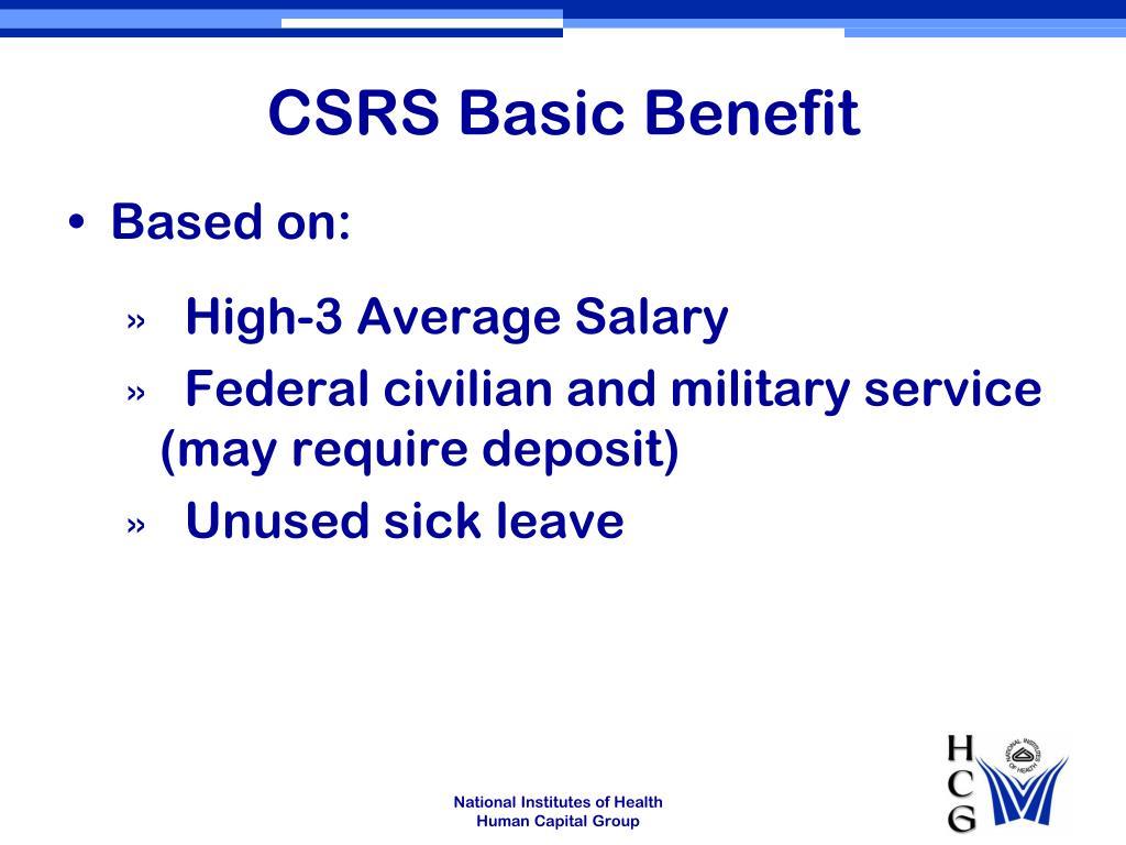 CSRS Basic Benefit
