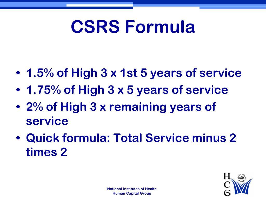 CSRS Formula