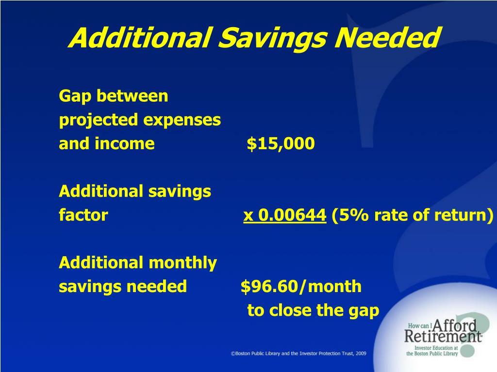Additional Savings Needed