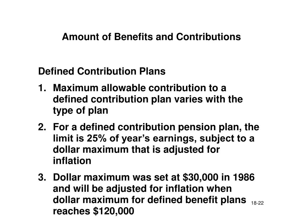 Amount of Benefits and Contributions