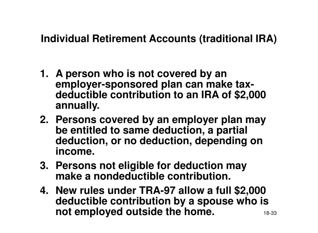Individual Retirement Accounts (traditional IRA)