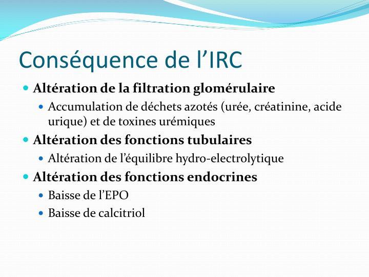 Conséquence de l'IRC