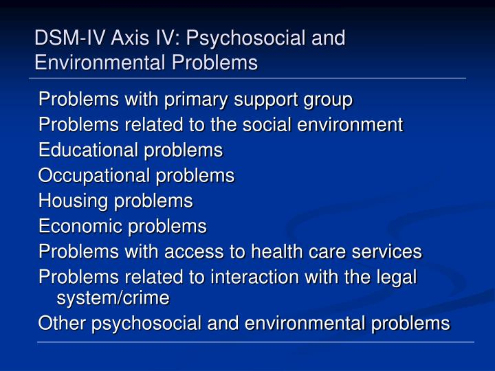 DSM-IV Axis IV: Psychosocial and Environmental Problems