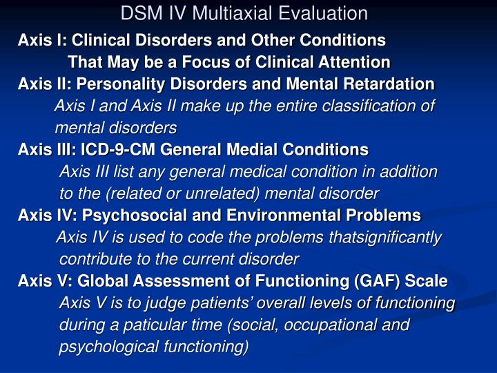 DSM IV Multiaxial Evaluation
