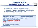 example csrs redeposit post 10 1 90