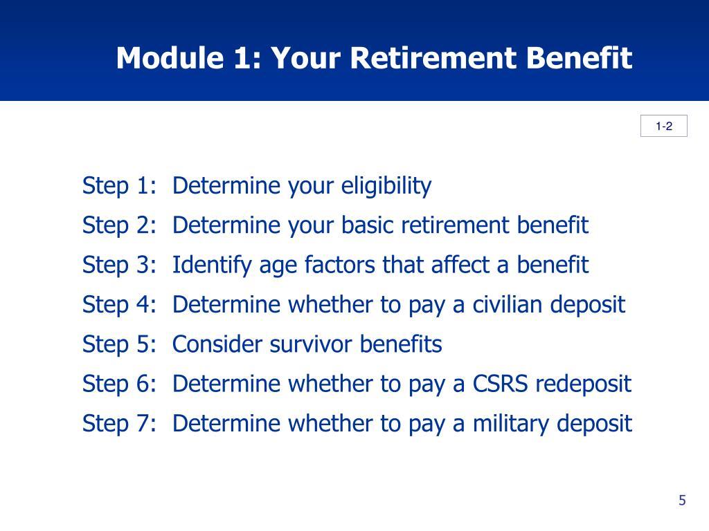 Module 1: Your Retirement Benefit