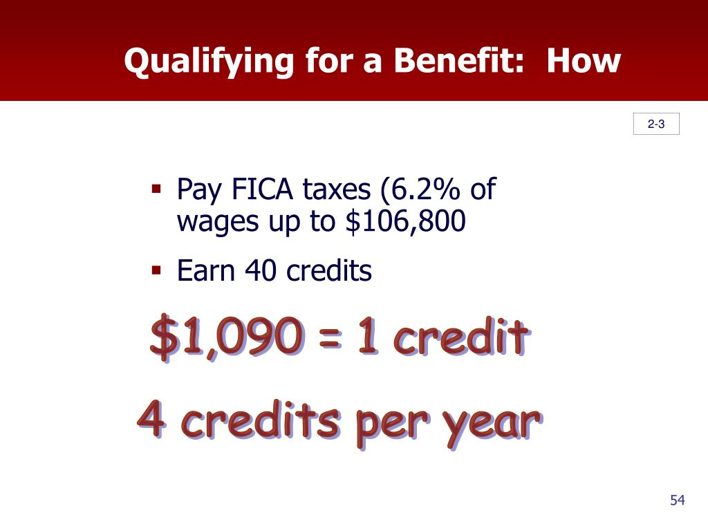 Qualifying for a Benefit:  How