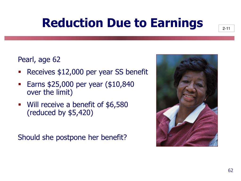 Reduction Due to Earnings