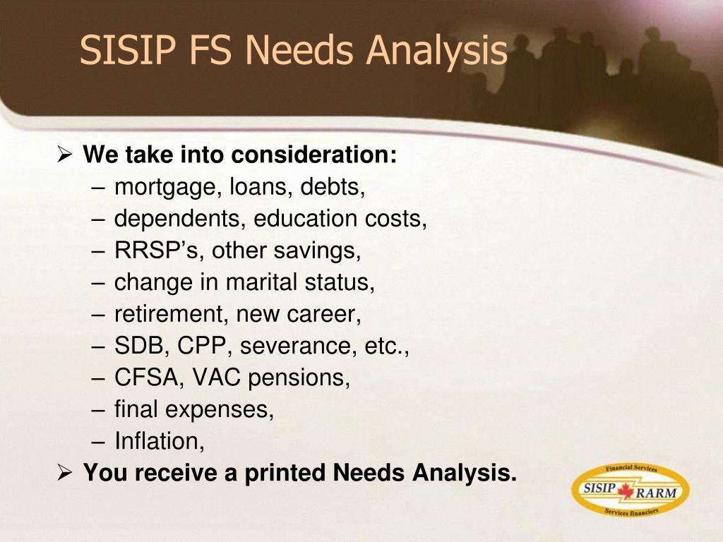 SISIP FS Needs Analysis