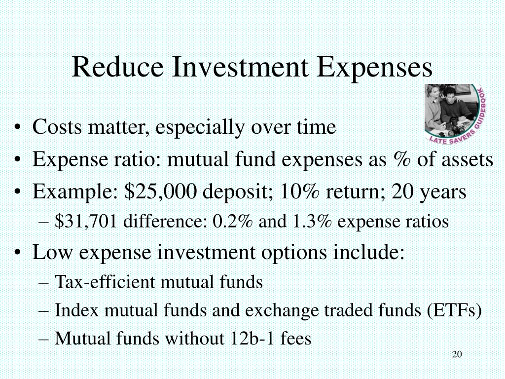 Reduce Investment Expenses