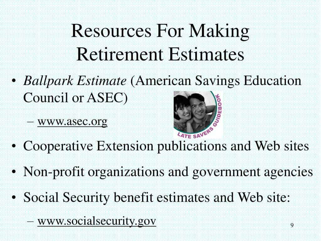 Resources For Making Retirement Estimates