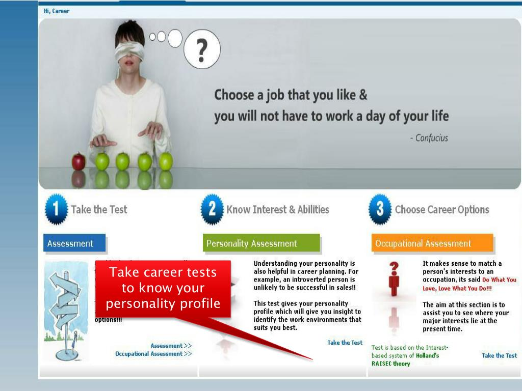 Take career tests to know your personality profile