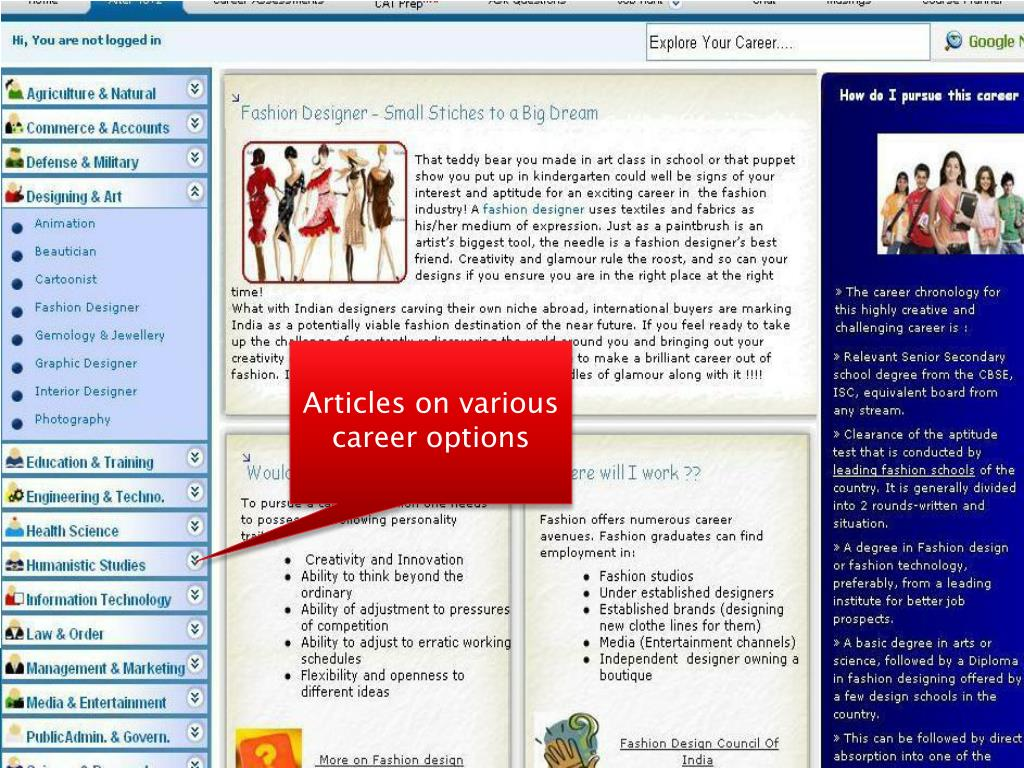 Articles on various career options