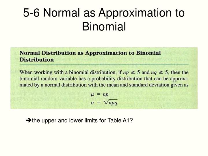 5-6 Normal as Approximation to Binomial