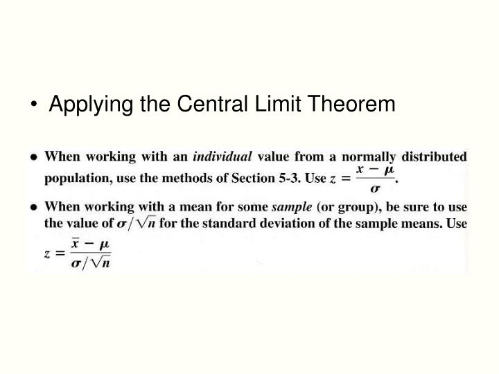 Applying the Central Limit Theorem