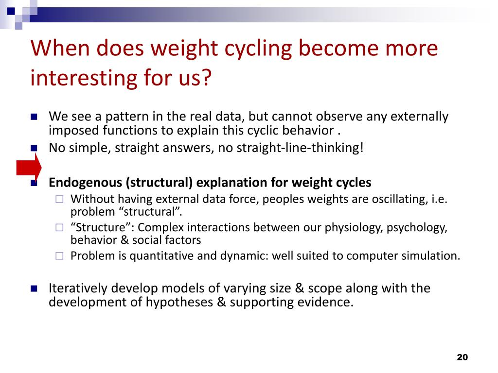 When does weight cycling become more interesting for us?