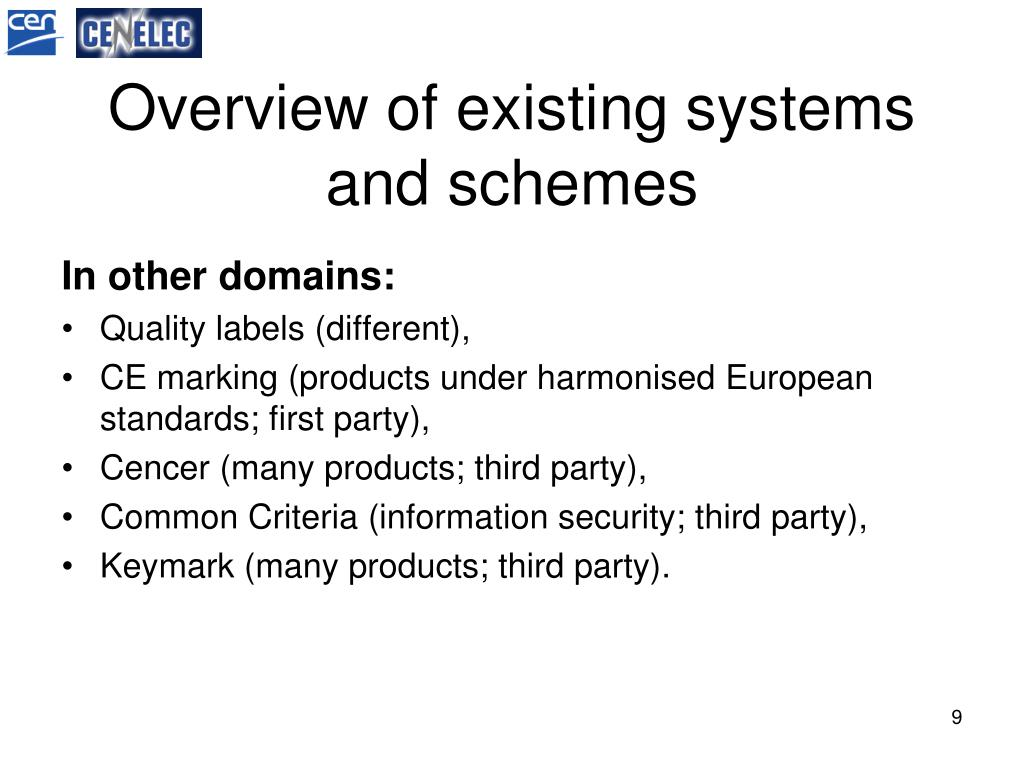Overview of existing systems and schemes