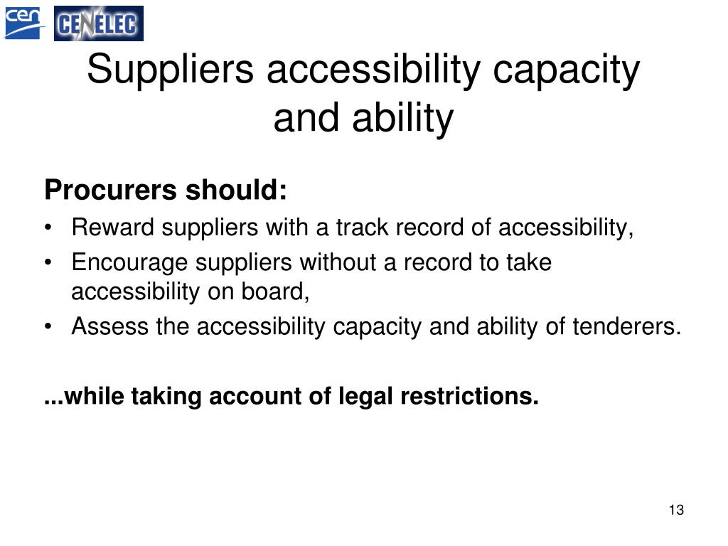 Suppliers accessibility capacity