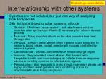 interrelationship with other systems