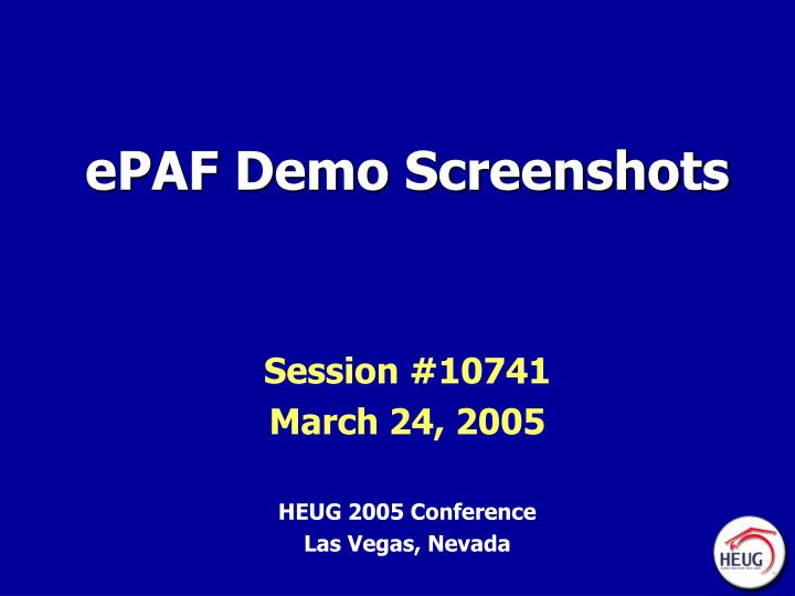 epaf demo screenshots