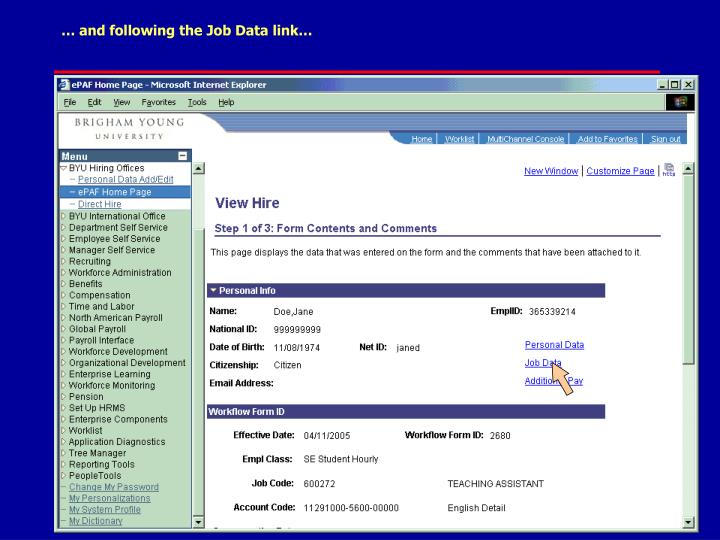 … and following the Job Data link…