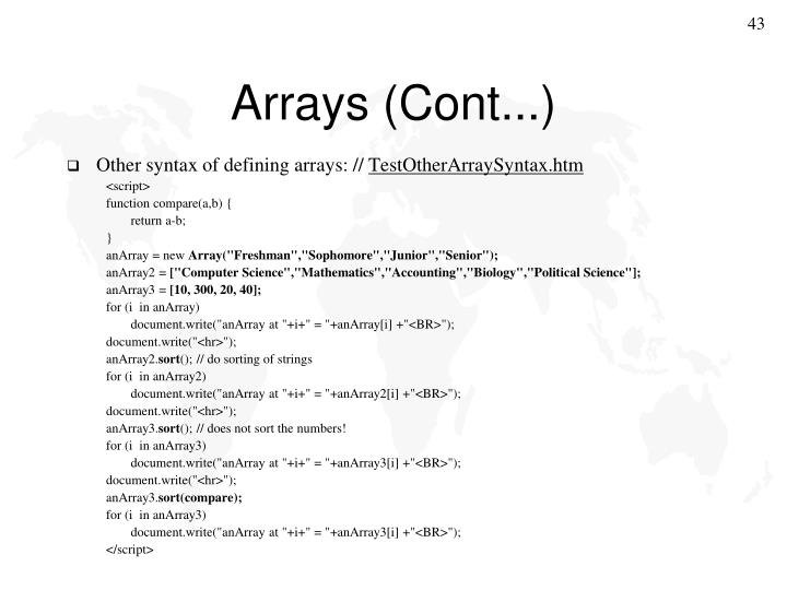 Arrays (Cont...)