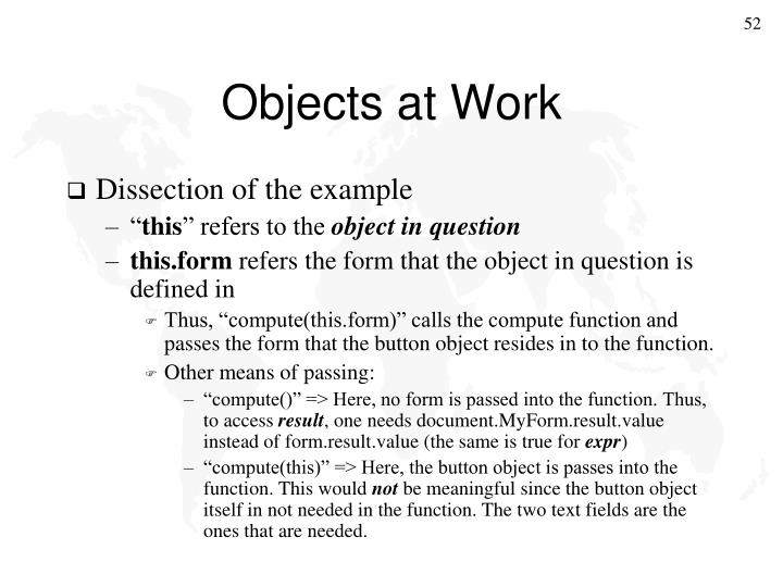Objects at Work