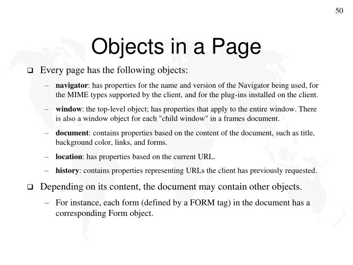 Objects in a Page