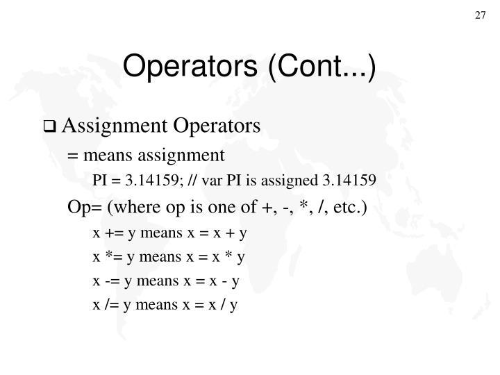 Operators (Cont...)