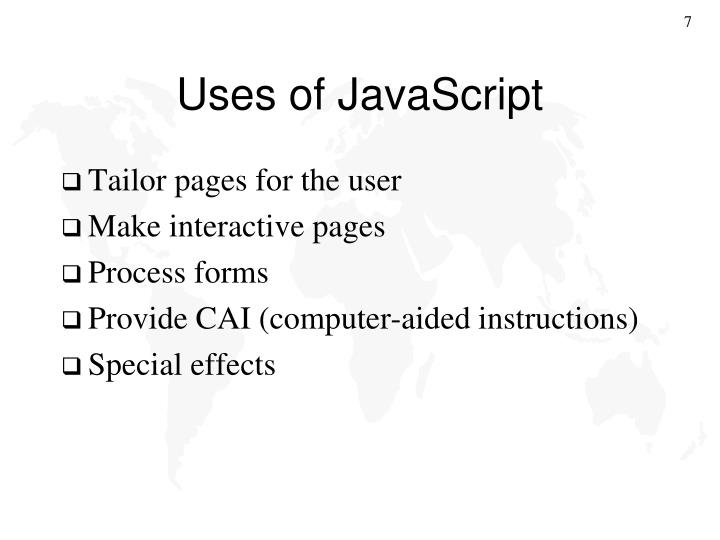 Uses of JavaScript