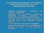 the duties and authority of national election commission nec on presidential election