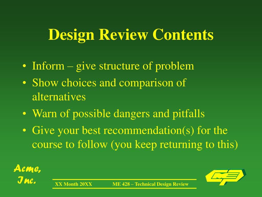 Design Review Contents